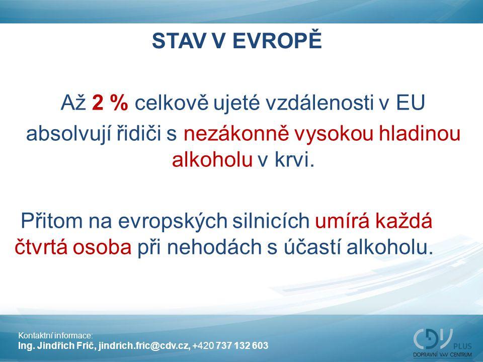 STAV V EVROPĚ Až 2 % celkově ujeté vzdálenosti v EU absolvují řidiči s nezákonně vysokou hladinou alkoholu v krvi. Přitom na evropských silnicích umír