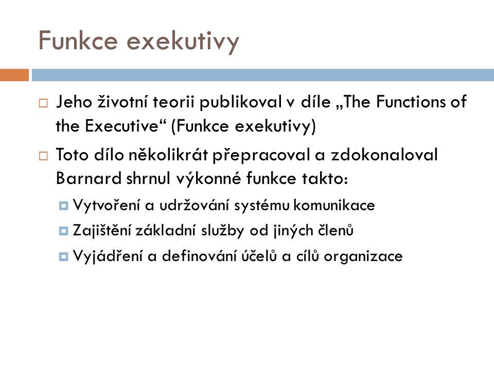 """Funkce exekutivy  Jeho životní teorii publikoval v díle """"The Functions of the Executive"""" (Funkce exekutivy)  Toto dílo několikrát přepracoval a zdok"""