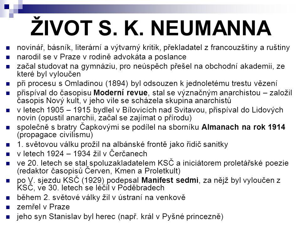 ŽIVOT S. K. NEUMANNA novinář, básník, literární a výtvarný kritik, překladatel z francouzštiny a ruštiny narodil se v Praze v rodině advokáta a poslan