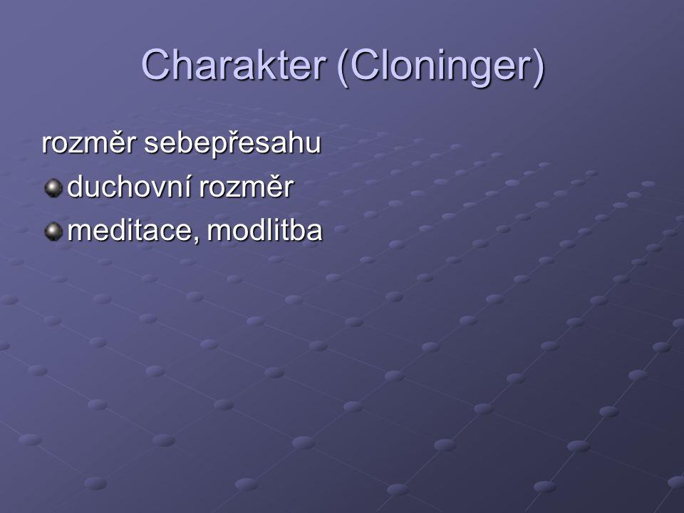 Charakter (Cloninger) rozměr sebepřesahu duchovní rozměr meditace, modlitba