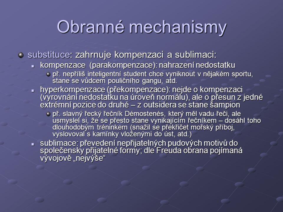 Obranné mechanismy substituce: zahrnuje kompenzaci a sublimaci: kompenzace (parakompenzace): nahrazení nedostatku kompenzace (parakompenzace): nahrazení nedostatku př.