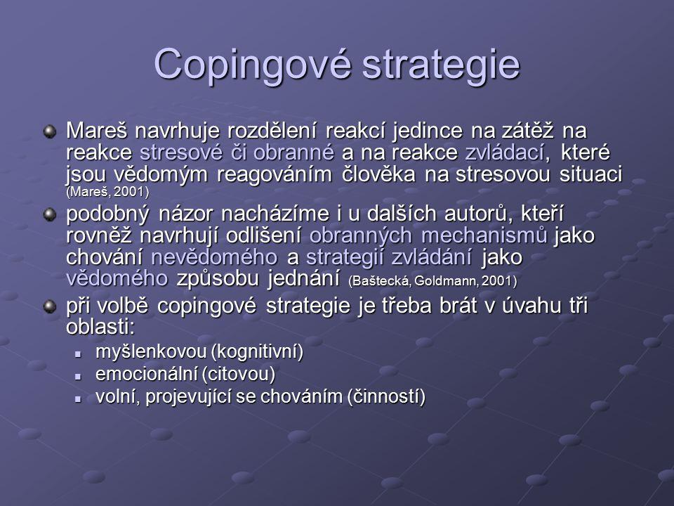 Copingové strategie Mareš navrhuje rozdělení reakcí jedince na zátěž na reakce stresové či obranné a na reakce zvládací, které jsou vědomým reagováním člověka na stresovou situaci (Mareš, 2001) podobný názor nacházíme i u dalších autorů, kteří rovněž navrhují odlišení obranných mechanismů jako chování nevědomého a strategií zvládání jako vědomého způsobu jednání (Baštecká, Goldmann, 2001) při volbě copingové strategie je třeba brát v úvahu tři oblasti: myšlenkovou (kognitivní) myšlenkovou (kognitivní) emocionální (citovou) emocionální (citovou) volní, projevující se chováním (činností) volní, projevující se chováním (činností)