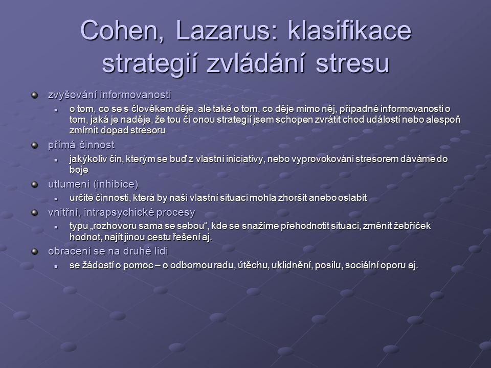 """Cohen, Lazarus: klasifikace strategií zvládání stresu zvyšování informovanosti o tom, co se s člověkem děje, ale také o tom, co děje mimo něj, případně informovanosti o tom, jaká je naděje, že tou či onou strategií jsem schopen zvrátit chod událostí nebo alespoň zmírnit dopad stresoru o tom, co se s člověkem děje, ale také o tom, co děje mimo něj, případně informovanosti o tom, jaká je naděje, že tou či onou strategií jsem schopen zvrátit chod událostí nebo alespoň zmírnit dopad stresoru přímá činnost jakýkoliv čin, kterým se buď z vlastní iniciativy, nebo vyprovokováni stresorem dáváme do boje jakýkoliv čin, kterým se buď z vlastní iniciativy, nebo vyprovokováni stresorem dáváme do boje utlumení (inhibice) určité činnosti, která by naši vlastní situaci mohla zhoršit anebo oslabit určité činnosti, která by naši vlastní situaci mohla zhoršit anebo oslabit vnitřní, intrapsychické procesy typu """"rozhovoru sama se sebou , kde se snažíme přehodnotit situaci, změnit žebříček hodnot, najít jinou cestu řešení aj."""