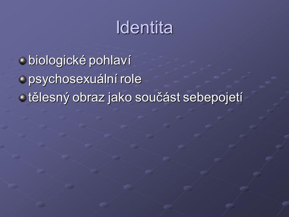 Identita biologické pohlaví psychosexuální role tělesný obraz jako součást sebepojetí