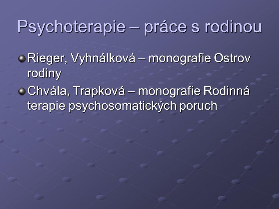Psychoterapie – práce s rodinou Rieger, Vyhnálková – monografie Ostrov rodiny Chvála, Trapková – monografie Rodinná terapie psychosomatických poruch