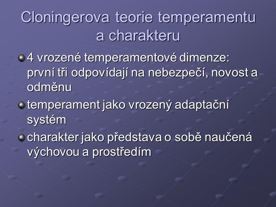 Cloningerova teorie temperamentu a charakteru 4 vrozené temperamentové dimenze: první tři odpovídají na nebezpečí, novost a odměnu temperament jako vrozený adaptační systém charakter jako představa o sobě naučená výchovou a prostředím