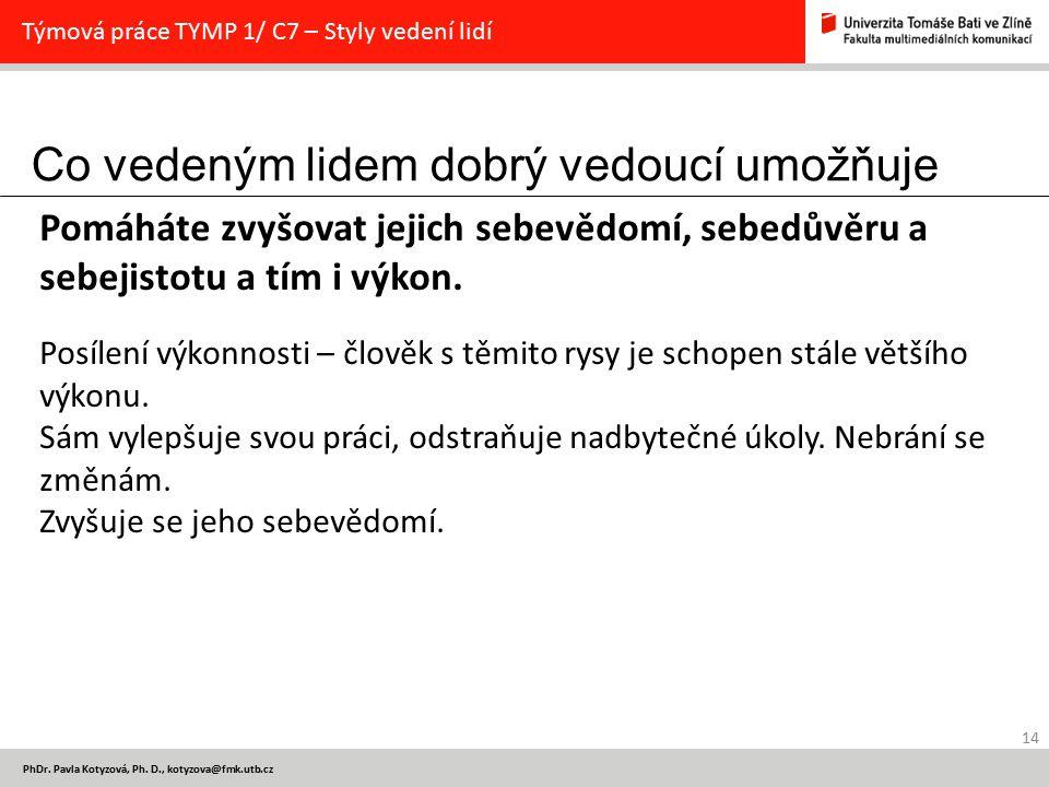 Co vedeným lidem dobrý vedoucí umožňuje 14 PhDr. Pavla Kotyzová, Ph. D., kotyzova@fmk.utb.cz Týmová práce TYMP 1/ C7 – Styly vedení lidí Pomáháte zvyš