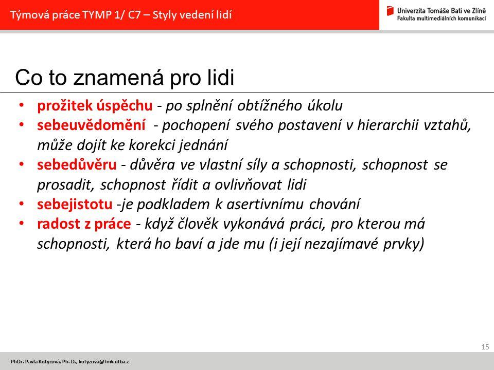 Co to znamená pro lidi 15 PhDr. Pavla Kotyzová, Ph. D., kotyzova@fmk.utb.cz Týmová práce TYMP 1/ C7 – Styly vedení lidí prožitek úspěchu - po splnění