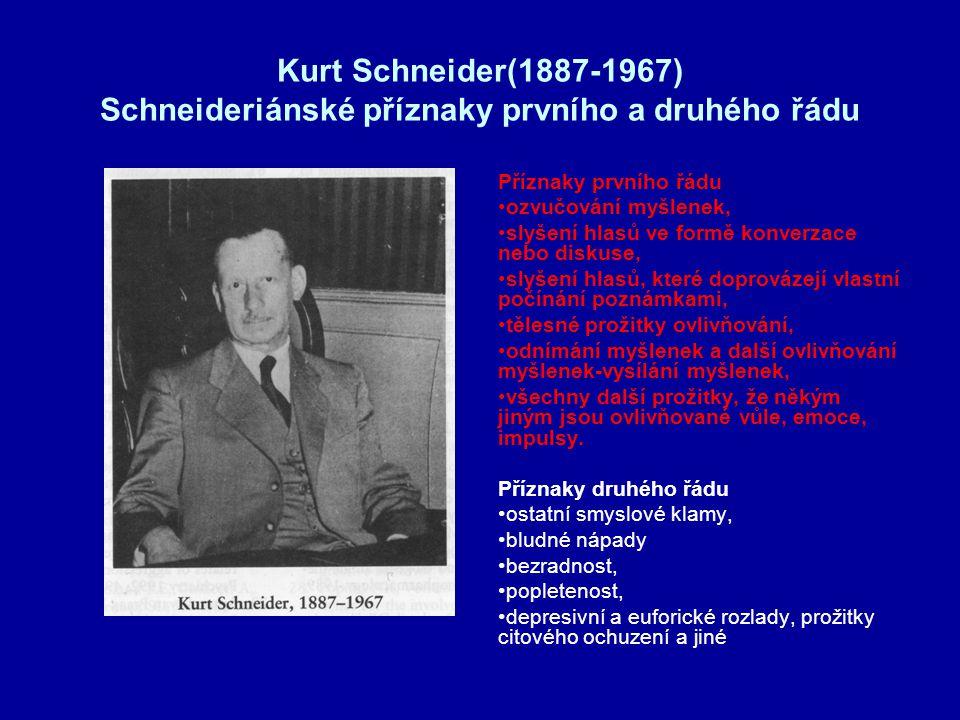 Kurt Schneider(1887-1967) Schneideriánské příznaky prvního a druhého řádu Příznaky prvního řádu ozvučování myšlenek, slyšení hlasů ve formě konverzace nebo diskuse, slyšení hlasů, které doprovázejí vlastní počínání poznámkami, tělesné prožitky ovlivňování, odnímání myšlenek a další ovlivňování myšlenek-vysílání myšlenek, všechny další prožitky, že někým jiným jsou ovlivňované vůle, emoce, impulsy.