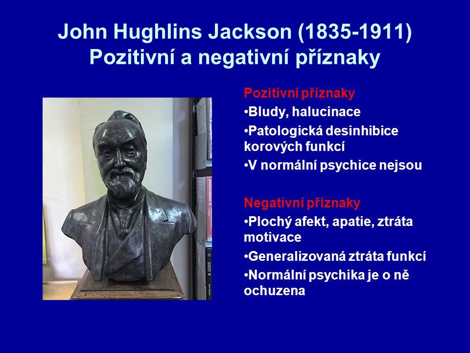 John Hughlins Jackson (1835-1911) Pozitivní a negativní příznaky Pozitivní příznaky Bludy, halucinace Patologická desinhibice korových funkcí V normální psychice nejsou Negativní příznaky Plochý afekt, apatie, ztráta motivace Generalizovaná ztráta funkcí Normální psychika je o ně ochuzena