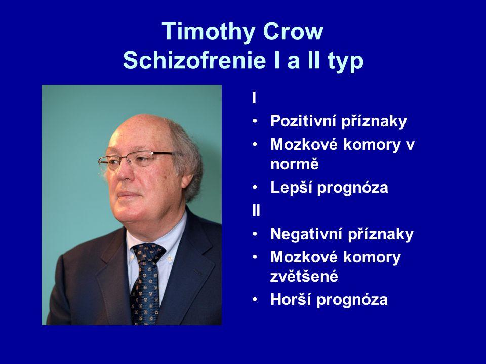 Timothy Crow Schizofrenie I a II typ I Pozitivní příznaky Mozkové komory v normě Lepší prognóza II Negativní příznaky Mozkové komory zvětšené Horší pr