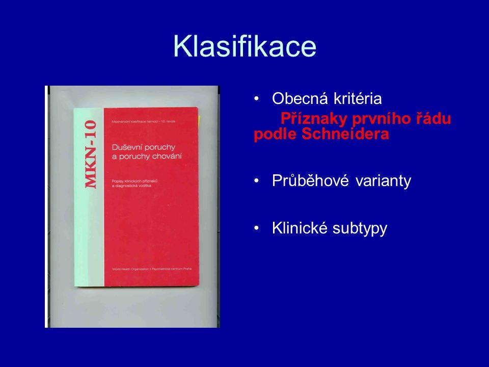 Klasifikace Obecná kritéria Příznaky prvního řádu podle Schneidera Průběhové varianty Klinické subtypy