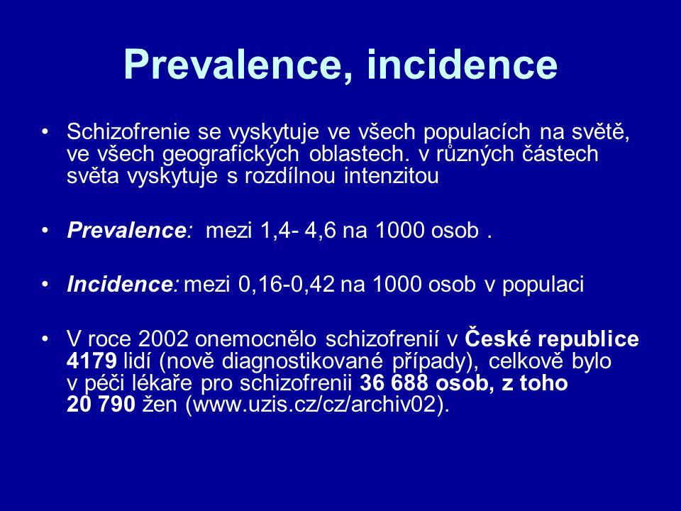 Prevalence, incidence Schizofrenie se vyskytuje ve všech populacích na světě, ve všech geografických oblastech. v různých částech světa vyskytuje s ro