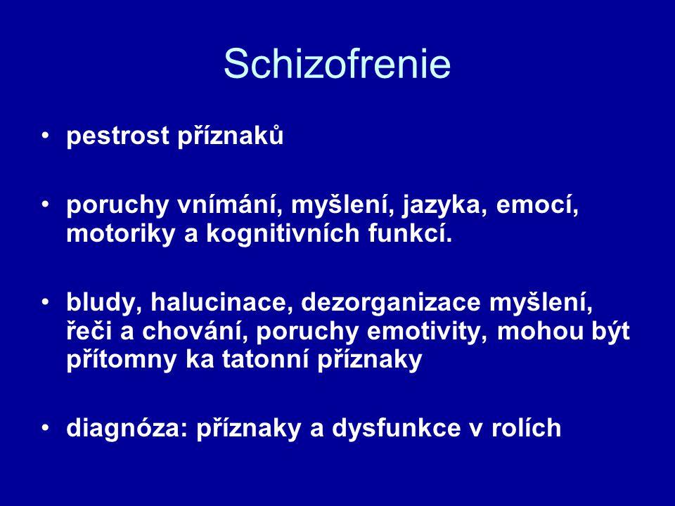 Schizofrenie pestrost příznaků poruchy vnímání, myšlení, jazyka, emocí, motoriky a kognitivních funkcí. bludy, halucinace, dezorganizace myšlení, řeči