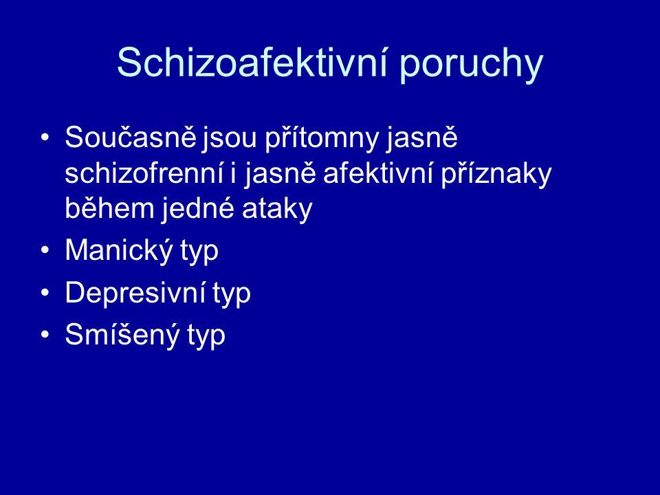 Schizoafektivní poruchy Současně jsou přítomny jasně schizofrenní i jasně afektivní příznaky během jedné ataky Manický typ Depresivní typ Smíšený typ