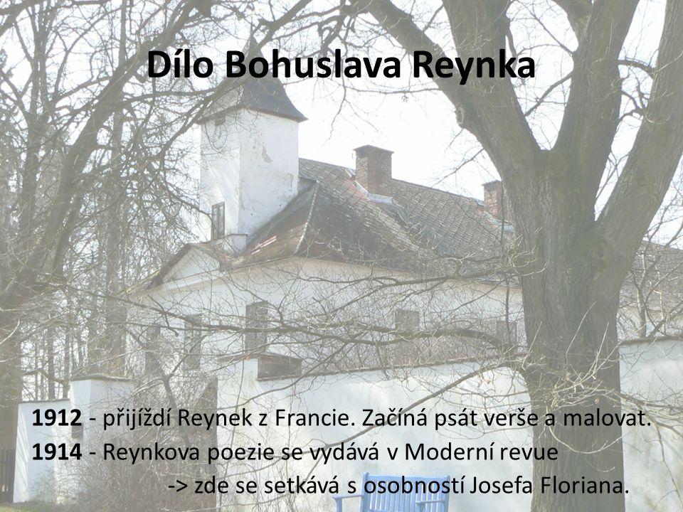 Dílo Bohuslava Reynka 1912 - přijíždí Reynek z Francie. Začíná psát verše a malovat. 1914 - Reynkova poezie se vydává v Moderní revue -> zde se setkáv