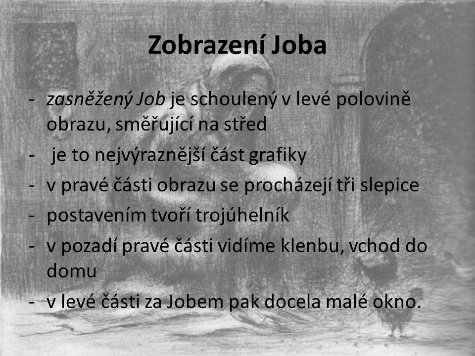 Zobrazení Joba -zasněžený Job je schoulený v levé polovině obrazu, směřující na střed - je to nejvýraznější část grafiky -v pravé části obrazu se proc