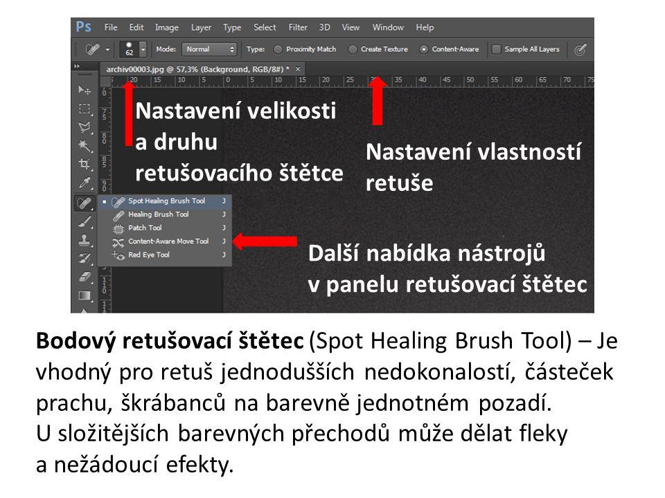 Bodový retušovací štětec (Spot Healing Brush Tool) – Je vhodný pro retuš jednodušších nedokonalostí, částeček prachu, škrábanců na barevně jednotném p
