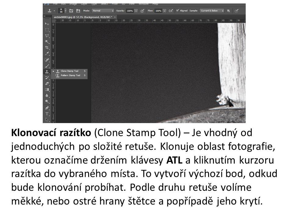 Klonovací razítko (Clone Stamp Tool) – Je vhodný od jednoduchých po složité retuše. Klonuje oblast fotografie, kterou označíme držením klávesy ATL a k