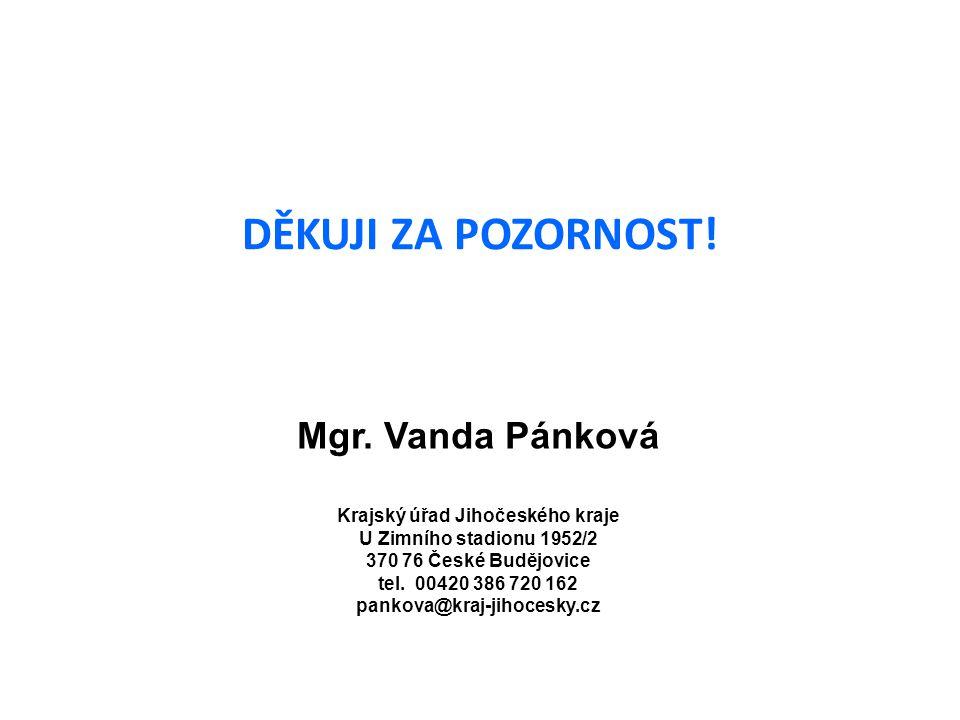 DĚKUJI ZA POZORNOST! Mgr. Vanda Pánková Krajský úřad Jihočeského kraje U Zimního stadionu 1952/2 370 76 České Budějovice tel. 00420 386 720 162 pankov