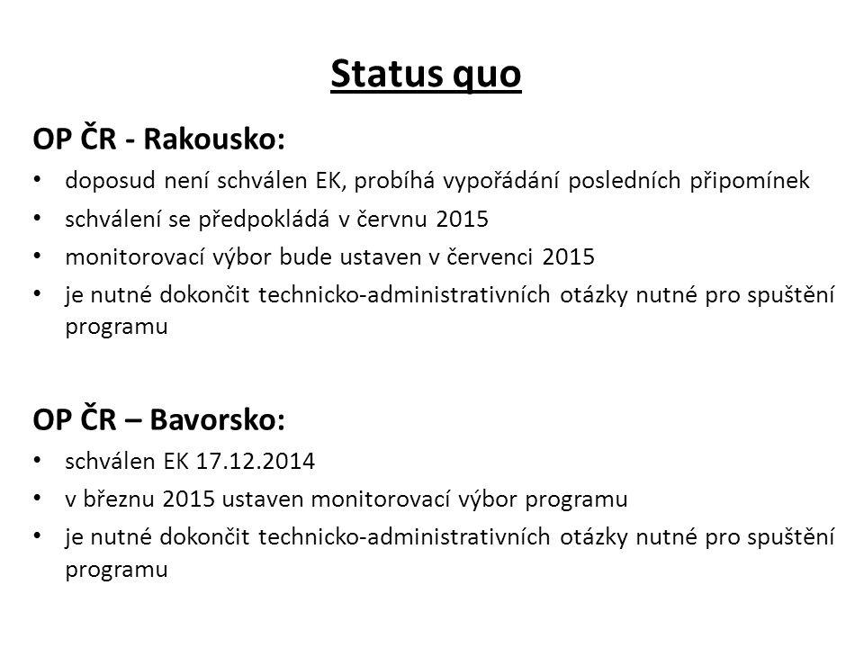 Status quo OP ČR - Rakousko: doposud není schválen EK, probíhá vypořádání posledních připomínek schválení se předpokládá v červnu 2015 monitorovací vý