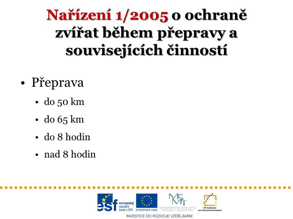 Nařízení 1/2005 o ochraně zvířat během přepravy a souvisejících činností Přeprava do 50 km do 65 km do 8 hodin nad 8 hodin