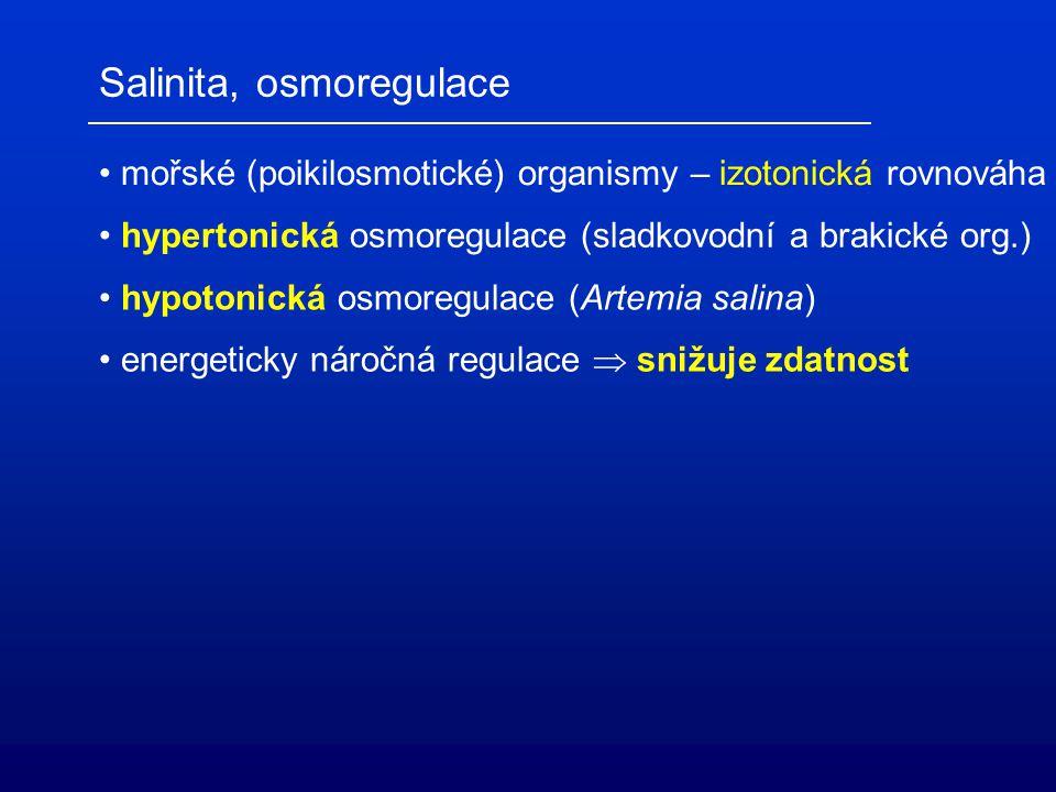 Salinita, osmoregulace mořské (poikilosmotické) organismy – izotonická rovnováha hypertonická osmoregulace (sladkovodní a brakické org.) hypotonická o