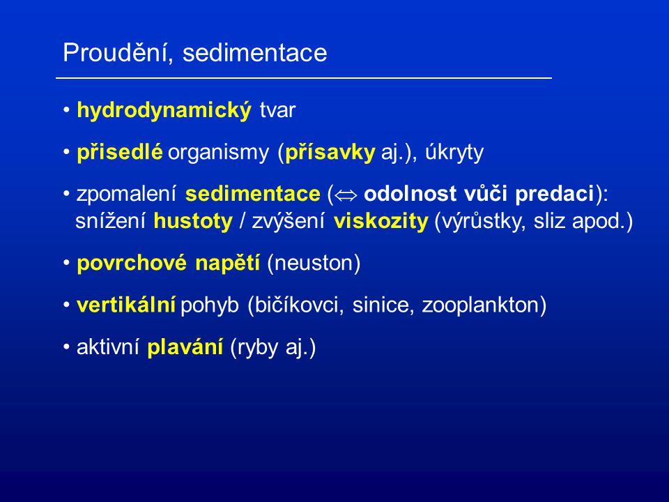 Proudění, sedimentace hydrodynamický tvar přisedlé organismy (přísavky aj.), úkryty zpomalení sedimentace (  odolnost vůči predaci): snížení hustoty