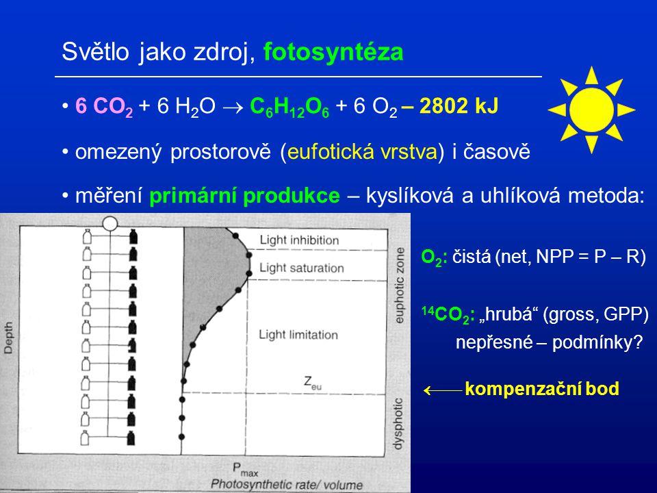 Světlo jako zdroj, fotosyntéza 6 CO 2 + 6 H 2 O  C 6 H 12 O 6 + 6 O 2 – 2802 kJ omezený prostorově (eufotická vrstva) i časově měření primární produk