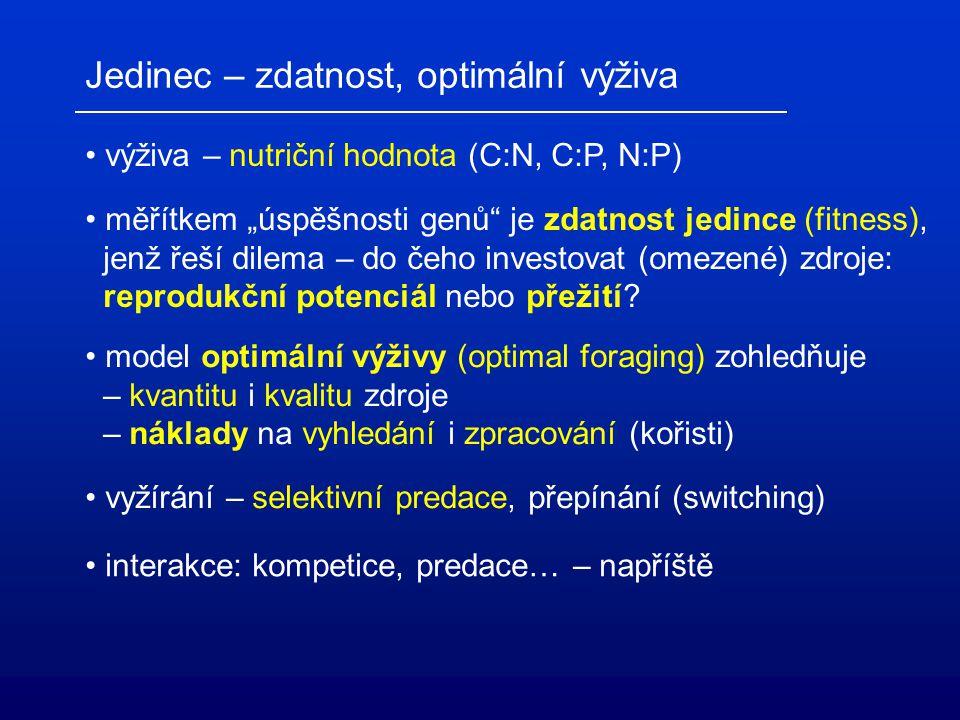 """Jedinec – zdatnost, optimální výživa výživa – nutriční hodnota (C:N, C:P, N:P) měřítkem """"úspěšnosti genů"""" je zdatnost jedince (fitness), jenž řeší dil"""