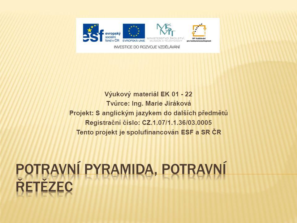 Výukový materiál EK 01 - 22 Tvůrce: Ing. Marie Jiráková Projekt: S anglickým jazykem do dalších předmětů Registrační číslo: CZ.1.07/1.1.36/03.0005 Ten