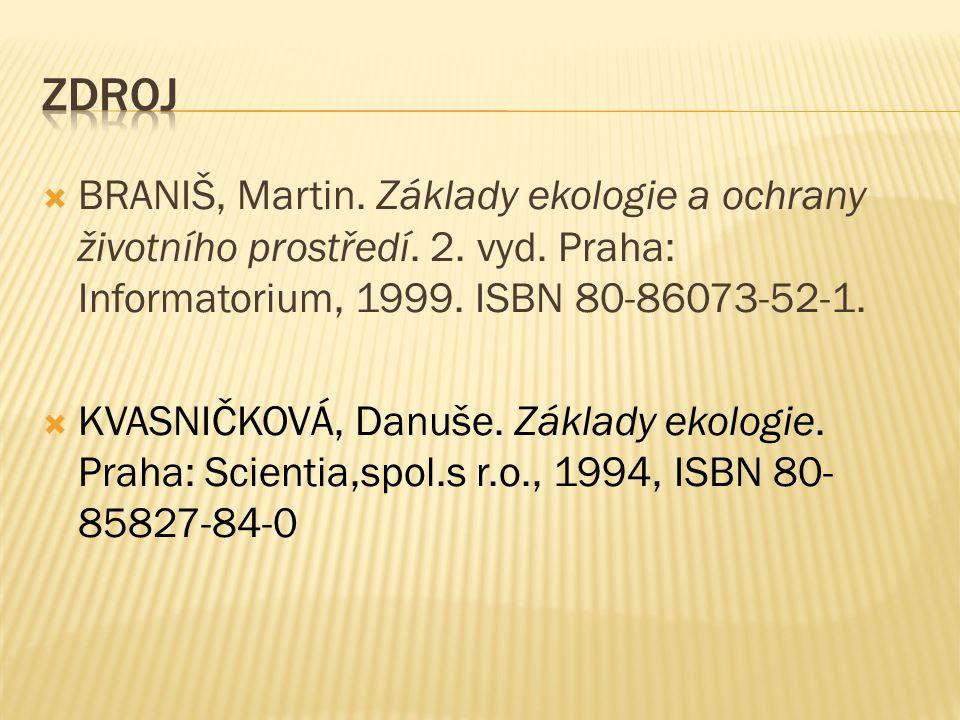  BRANIŠ, Martin. Základy ekologie a ochrany životního prostředí. 2. vyd. Praha: Informatorium, 1999. ISBN 80-86073-52-1.  KVASNIČKOVÁ, Danuše. Zákla