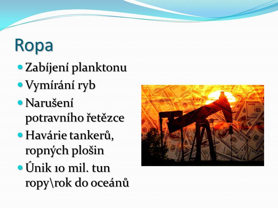 Ropa Zabíjení planktonu Zabíjení planktonu Vymírání ryb Vymírání ryb Narušení potravního řetězce Narušení potravního řetězce Havárie tankerů, ropných plošin Havárie tankerů, ropných plošin Únik 10 mil.