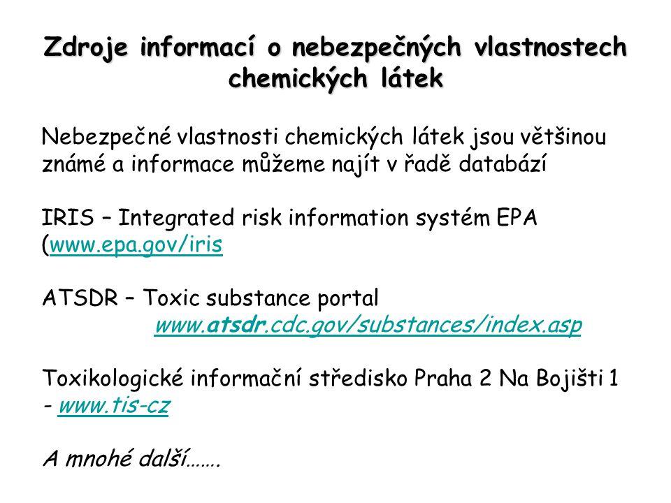 Zdroje informací o nebezpečných vlastnostech chemických látek Nebezpečné vlastnosti chemických látek jsou většinou známé a informace můžeme najít v řadě databází IRIS – Integrated risk information systém EPA (www.epa.gov/iriswww.epa.gov/iris ATSDR – Toxic substance portal www.atsdr.cdc.gov/substances/index.aspwww.atsdr.cdc.gov/substances/index.asp Toxikologické informační středisko Praha 2 Na Bojišti 1 - www.tis-czwww.tis-cz A mnohé další…….