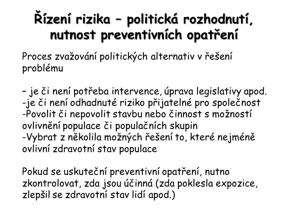 Řízení rizika – politická rozhodnutí, nutnost preventivních opatření Proces zvažování politických alternativ v řešení problému – je či není potřeba intervence, úprava legislativy apod.