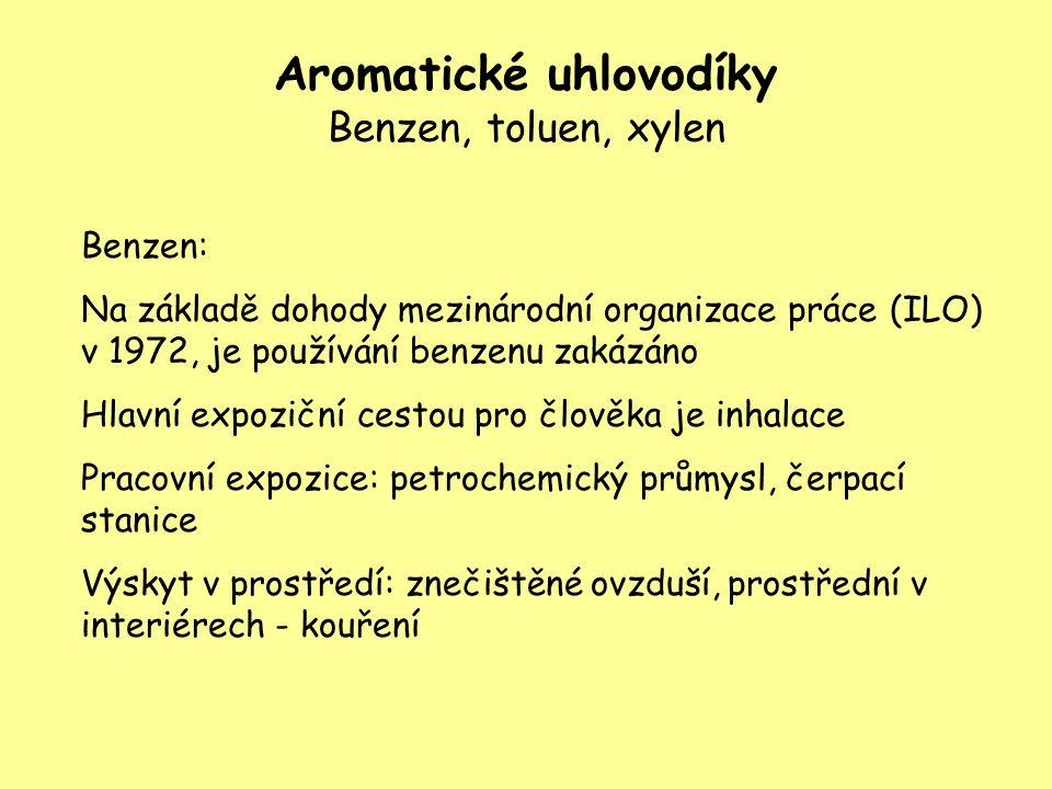 Aromatické uhlovodíky Benzen, toluen, xylen Benzen: Na základě dohody mezinárodní organizace práce (ILO) v 1972, je používání benzenu zakázáno Hlavní