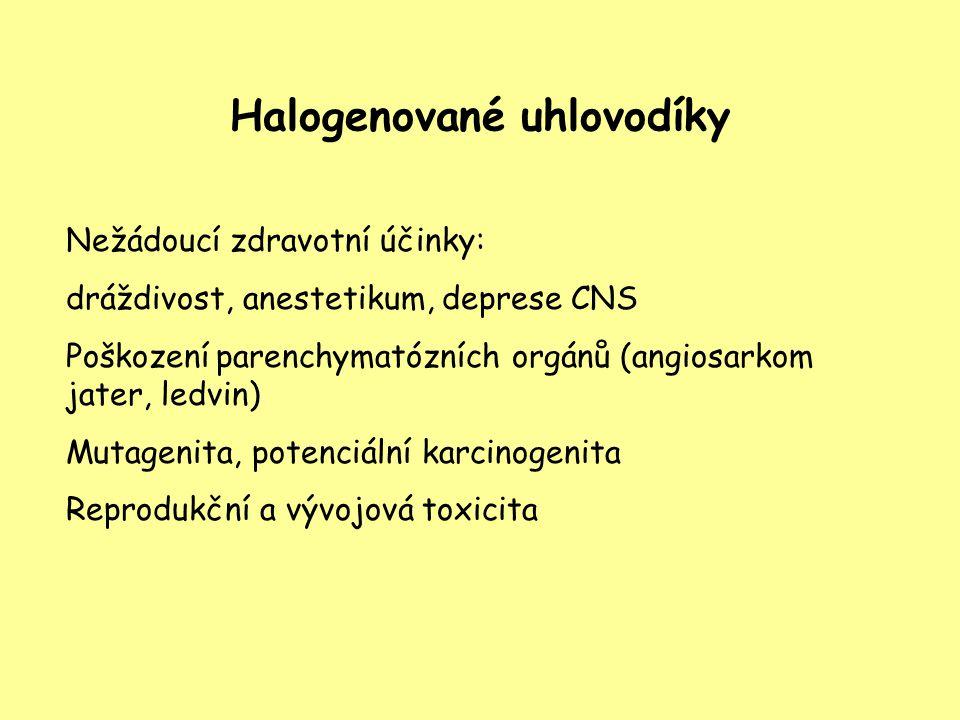 Halogenované uhlovodíky Nežádoucí zdravotní účinky: dráždivost, anestetikum, deprese CNS Poškození parenchymatózních orgánů (angiosarkom jater, ledvin