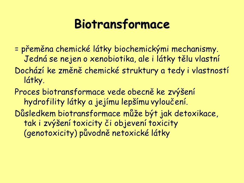 Biotransformace = přeměna chemické látky biochemickými mechanismy. Jedná se nejen o xenobiotika, ale i látky tělu vlastní Dochází ke změně chemické st