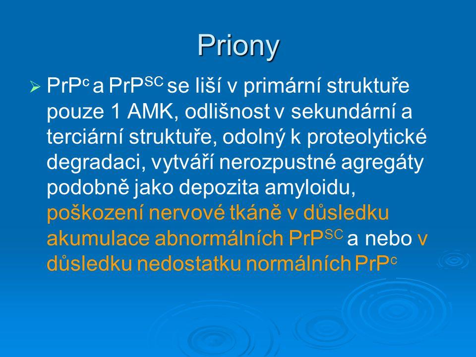 Priony   PrP c a PrP SC se liší v primární struktuře pouze 1 AMK, odlišnost v sekundární a terciární struktuře, odolný k proteolytické degradaci, vy