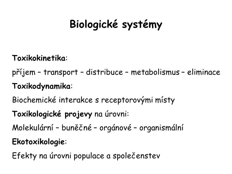 Biologické systémy Toxikokinetika: příjem – transport – distribuce – metabolismus – eliminace Toxikodynamika: Biochemické interakce s receptorovými mí