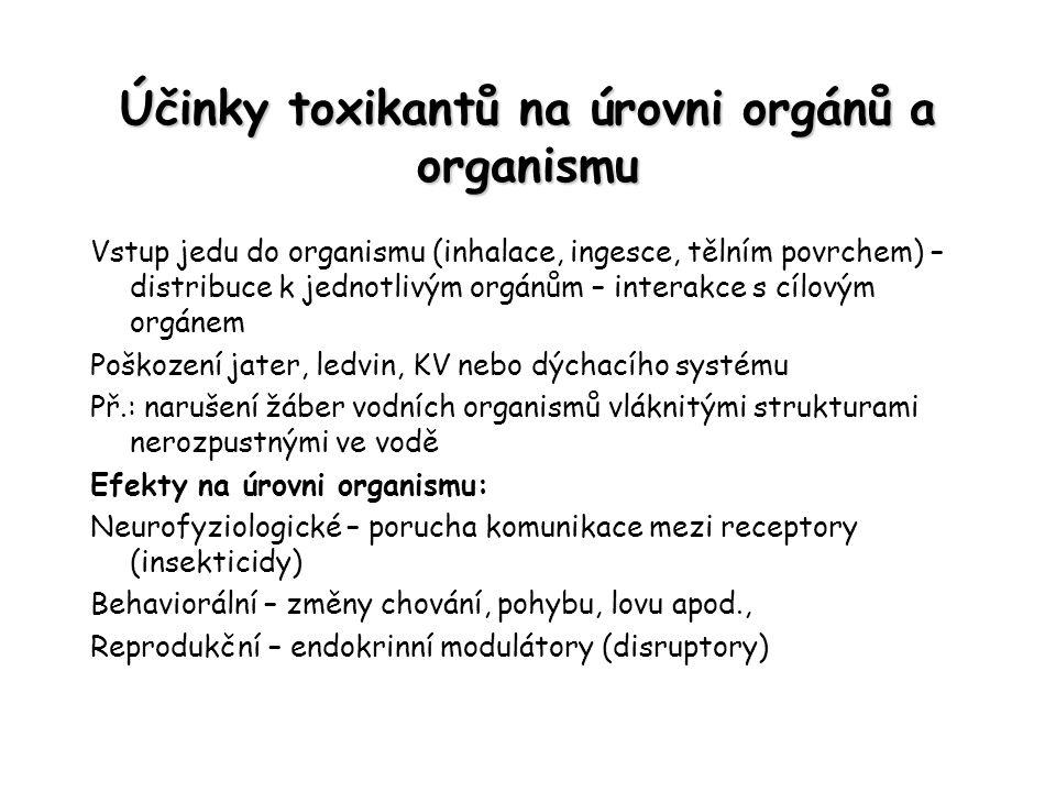Účinky toxikantů na úrovni orgánů a organismu Vstup jedu do organismu (inhalace, ingesce, tělním povrchem) – distribuce k jednotlivým orgánům – intera