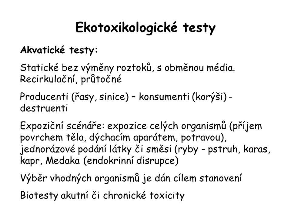 Ekotoxikologické testy Akvatické testy: Statické bez výměny roztoků, s obměnou média. Recirkulační, průtočné Producenti (řasy, sinice) – konsumenti (k