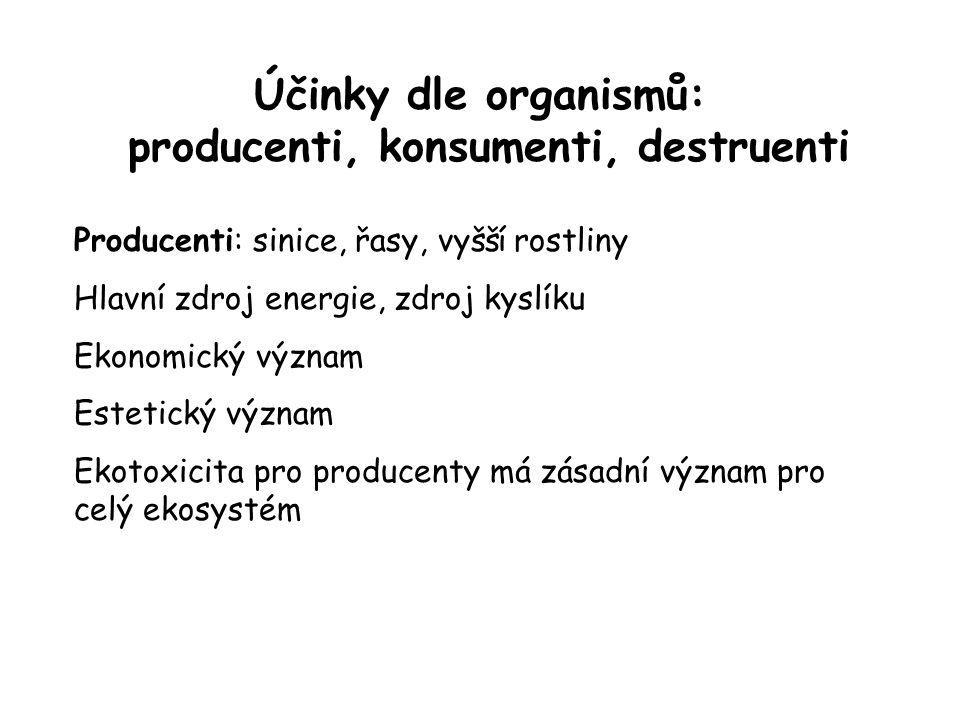 Účinky dle organismů: producenti, konsumenti, destruenti Producenti: sinice, řasy, vyšší rostliny Hlavní zdroj energie, zdroj kyslíku Ekonomický význa