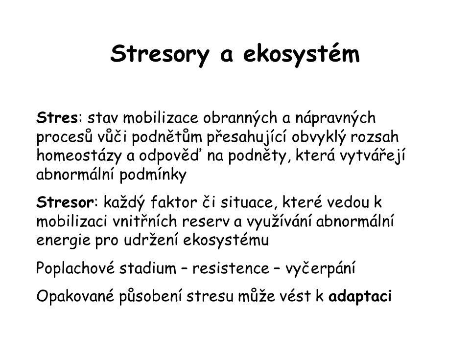Stresory a ekosystém Stres: stav mobilizace obranných a nápravných procesů vůči podnětům přesahující obvyklý rozsah homeostázy a odpověď na podněty, k