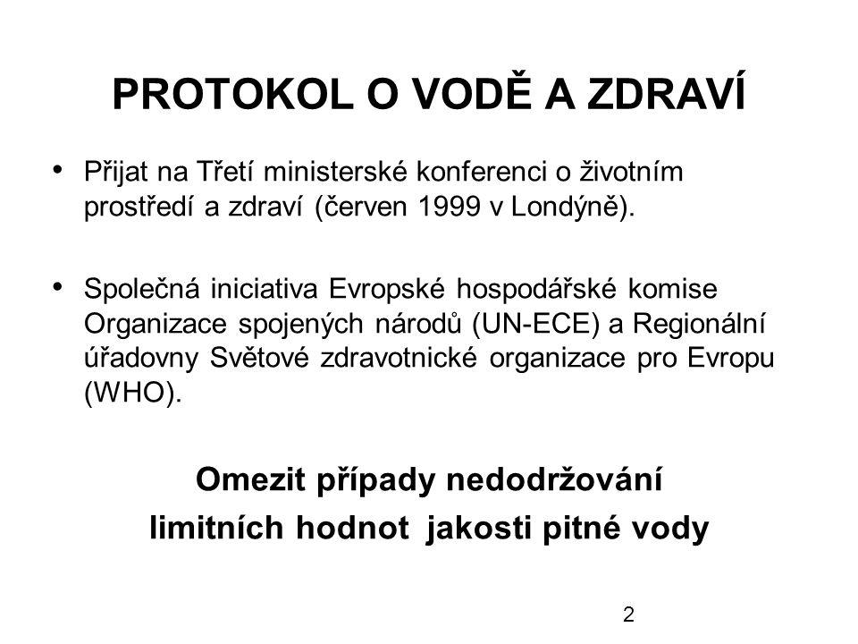 2 PROTOKOL O VODĚ A ZDRAVÍ Přijat na Třetí ministerské konferenci o životním prostředí a zdraví (červen 1999 v Londýně). Společná iniciativa Evropské