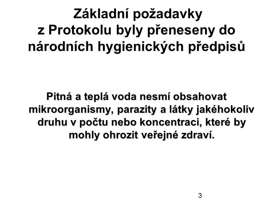 3 Základní požadavky z Protokolu byly přeneseny do národních hygienických předpisů Pitná a teplá voda nesmí obsahovat mikroorganismy, parazity a látky