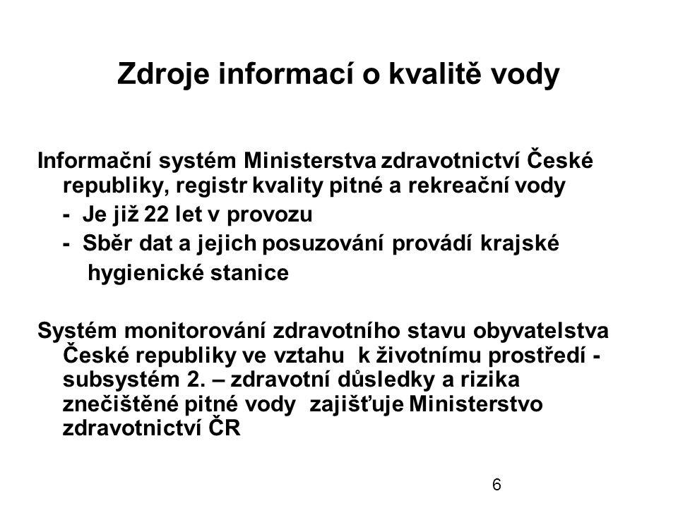 7 Kontrola pitné vody v ČR ve zdrojích u spotřebitele Krajské hygienické hygienické stanice dozorují zabezpečení vyhovující jakosti pitné vody