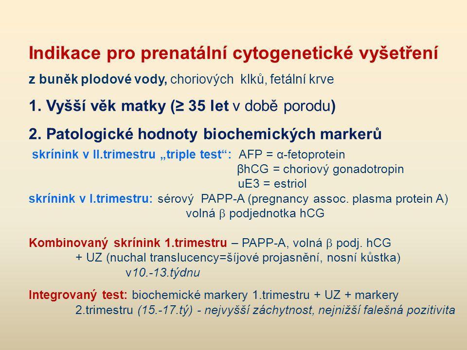 Indikace pro prenatální cytogenetické vyšetření z buněk plodové vody, choriových klků, fetální krve 1.Vyšší věk matky (≥ 35 let v době porodu) 2.Patol