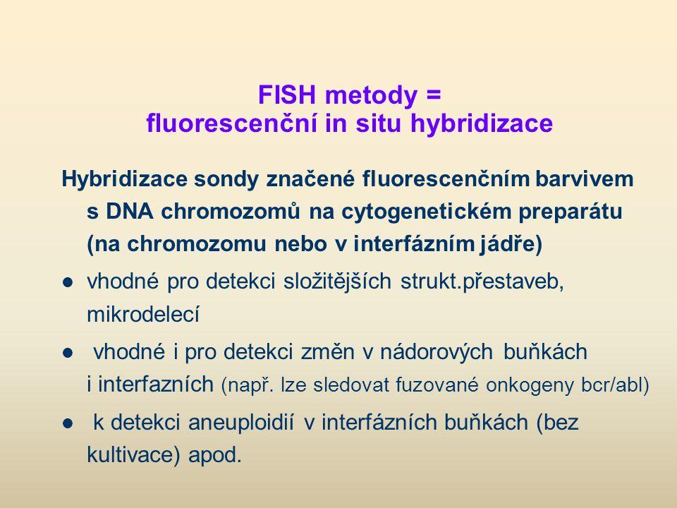 FISH metody = fluorescenční in situ hybridizace Hybridizace sondy značené fluorescenčním barvivem s DNA chromozomů na cytogenetickém preparátu (na chr