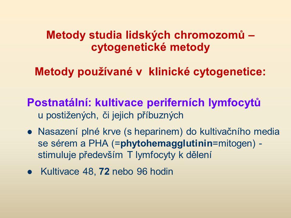 FISH metody = fluorescenční in situ hybridizace Hybridizace sondy značené fluorescenčním barvivem s DNA chromozomů na cytogenetickém preparátu (na chromozomu nebo v interfázním jádře) vhodné pro detekci složitějších strukt.přestaveb, mikrodelecí vhodné i pro detekci změn v nádorových buňkách i interfazních (např.